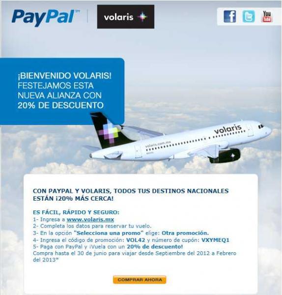Volaris: 20% de descuento en viajes nacionales pagando con PayPal