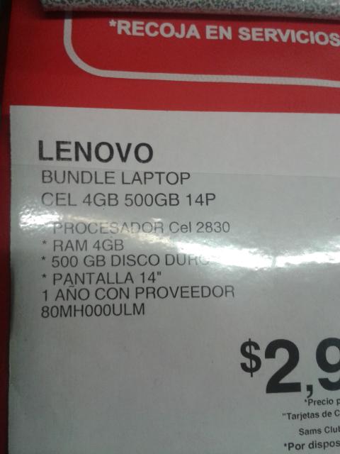 Sam's Club: laptop lenovo 80mh000ulm 4RAM 500GB a $2,999