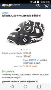 Amazon: manopla de béisbol Wilson a $99