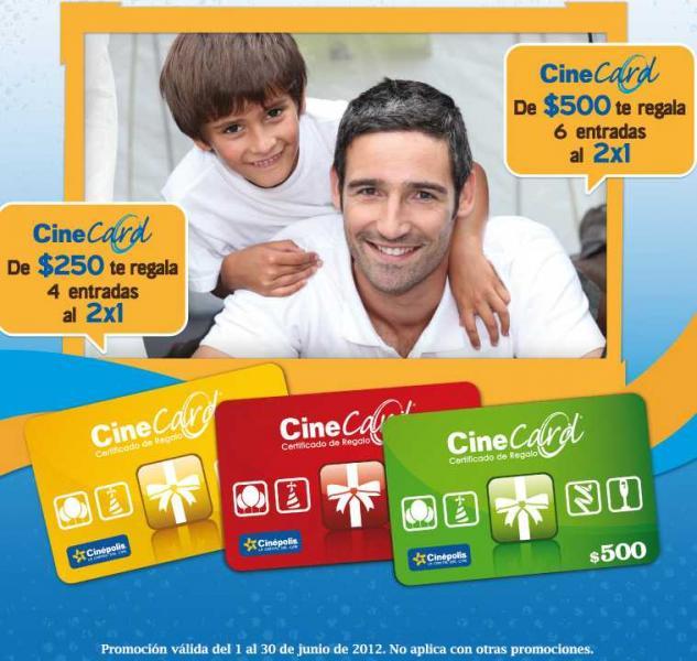 Cinépolis: 6 cupones de 2x1 comprando tarjeta de regalo