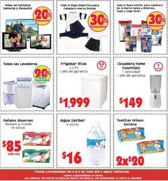 Mercado Soriana: 20% en monedero en lavadoras, 20% de descuento en pantallas Samsung y Panasonic y más