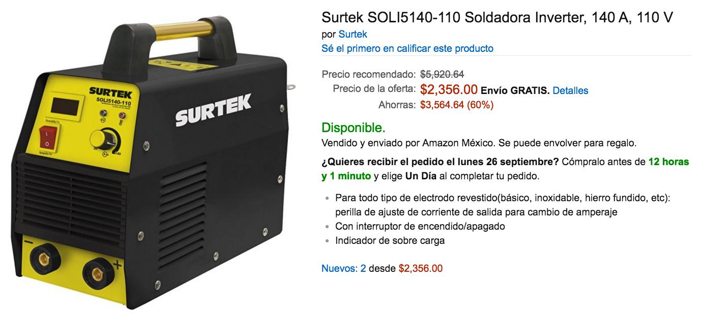 Amazon: Soldadora Inverter Surtek a $2,356 ($2,121 con Banamex a 12 MSI)
