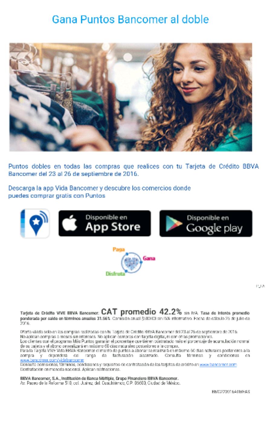 Bancomer: puntos dobles del 23 al 26 de septiembre.