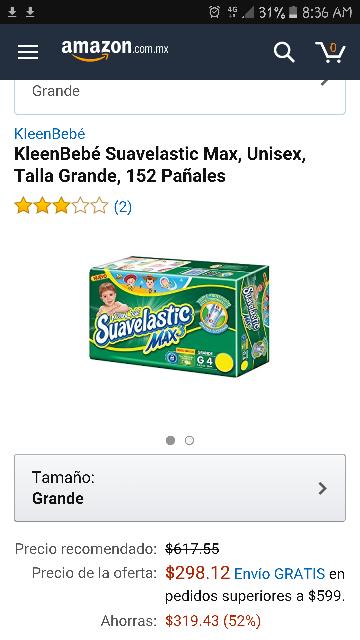 Amazon: KleenBebé Suavelastic Max, Unisex, Talla Grande, 152 Pañales