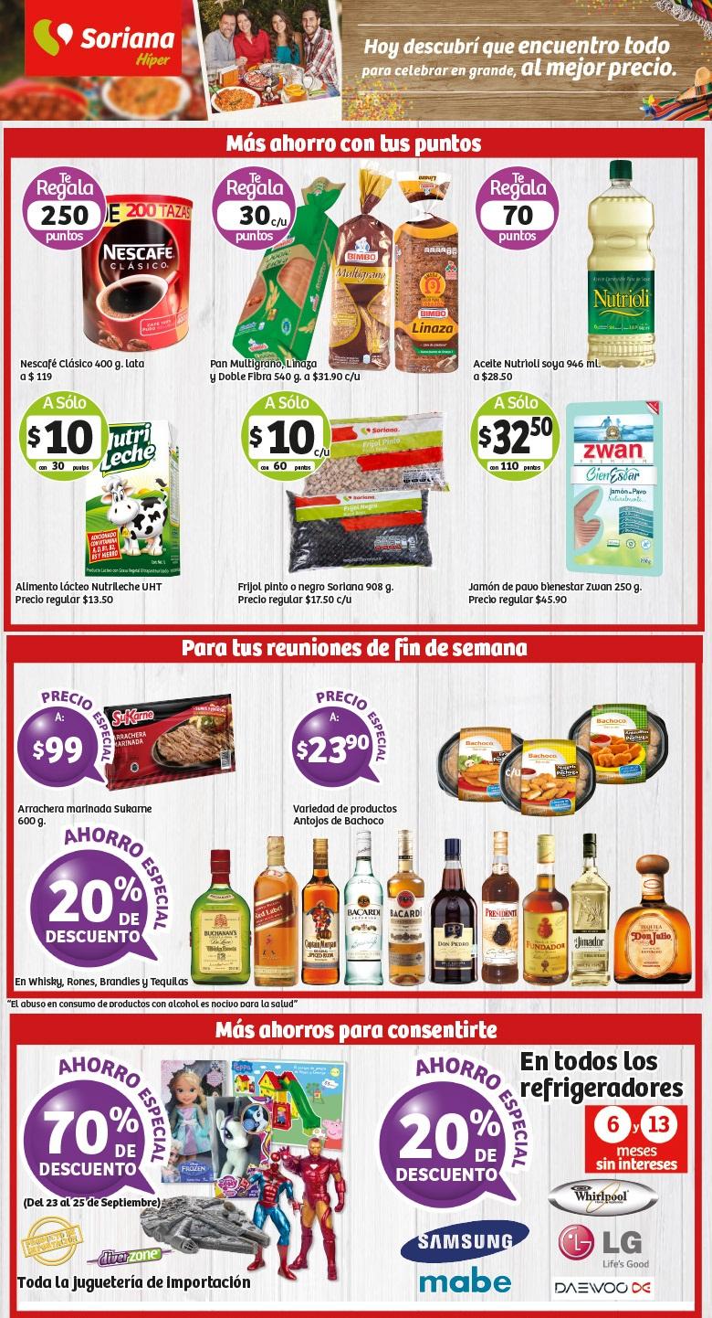 Soriana Híper: 20% de descuento en whisky, rones, brandies y tequilas, 20% de descuento en refrigeradores, 70% de descuento en juguetería de importación y más