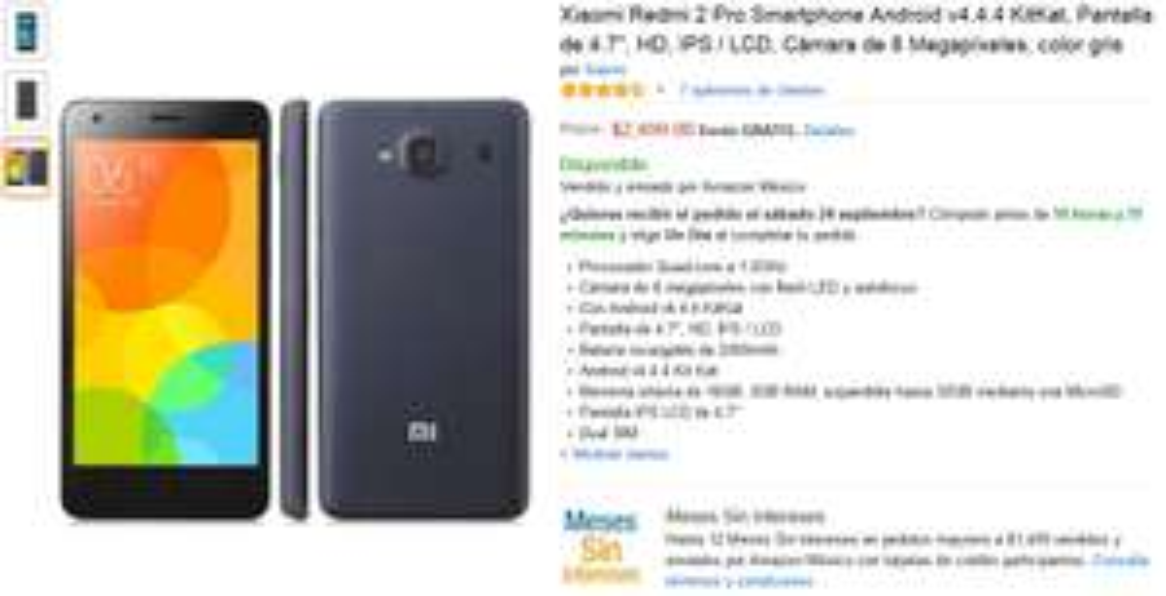 AMAZON MX: Xiaomi Redmi 2 Pro $2249.10 con Banamex ($2499 otros medios)