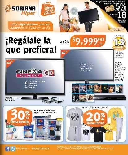 """Folleto Soriana junio 8: pantalla 42"""" 3D LG $9,999, 3x2 en pañales Babysec Ultra y más"""