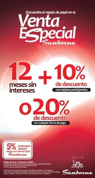 Venta especial Sanborns: 12 MSI y 10% de descuento o 20% de descuento