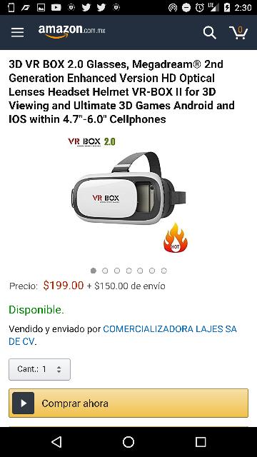 Amazon: lentes de realidad Virtual 3D a $449 (vendido por COMERCIALIZADORA LAJES)