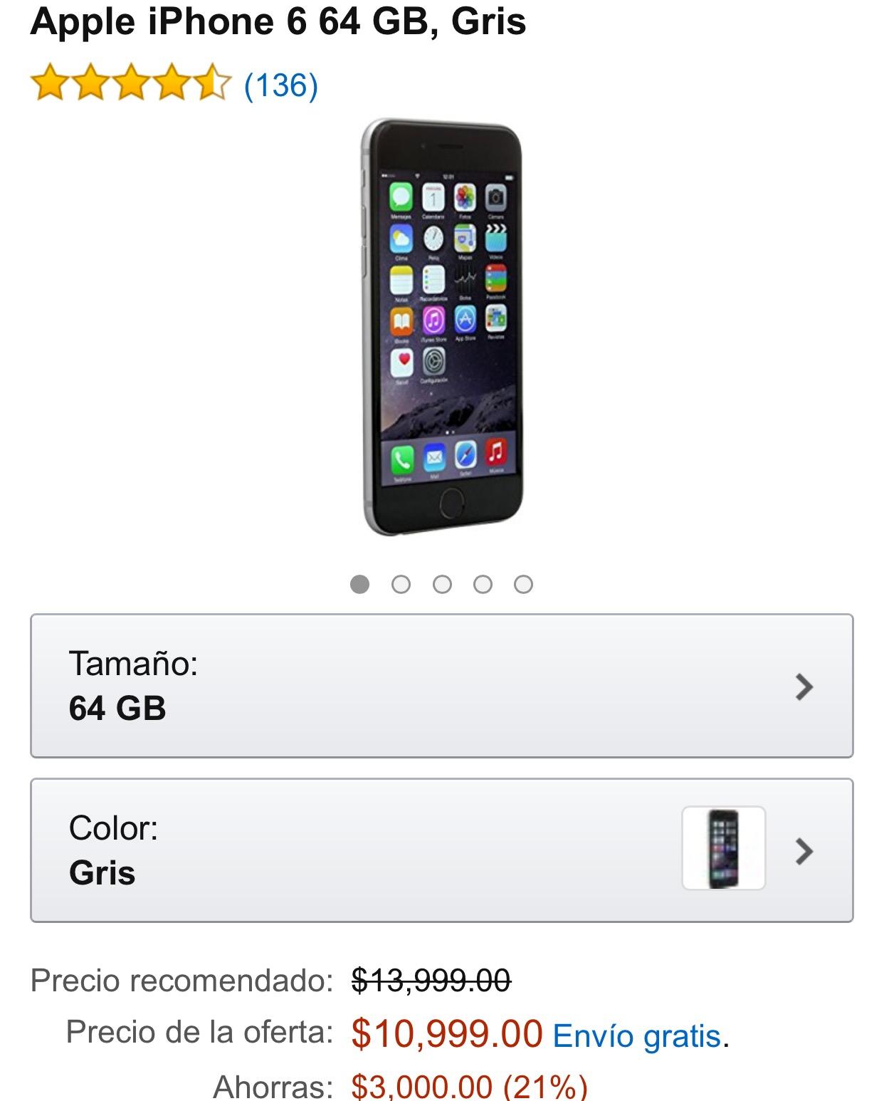 Amazon: iPhone 6 64GB a negro a $10,999 y plateado $10,399