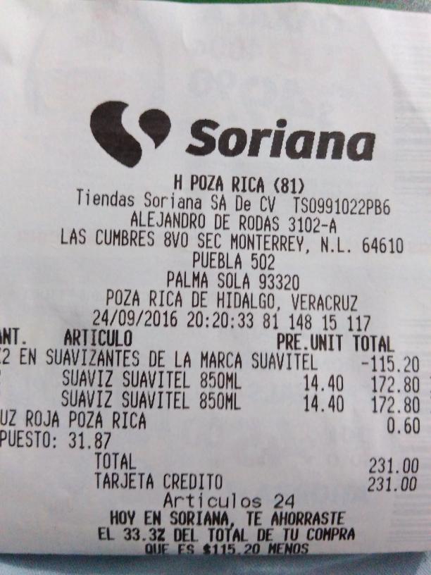Soriana Puebla: suavitel 850ml al 3x2