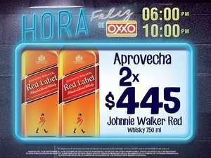 Oxxo Hora Feliz: 2 Red Label 750ml por $445.