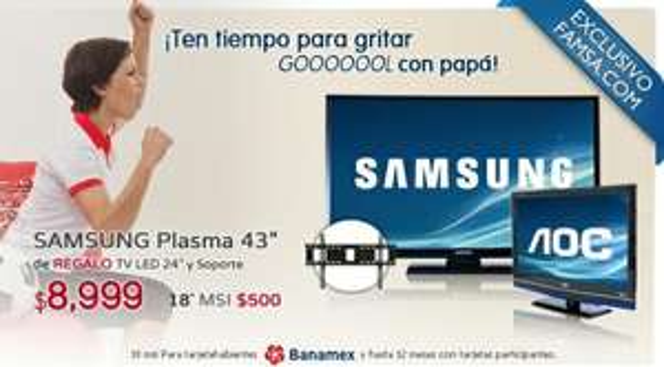 "Famsa.com: pantalla plasma 43"" Samsung, pantalla LED 24"" y sorporte a $8,999 y 12 MSI"