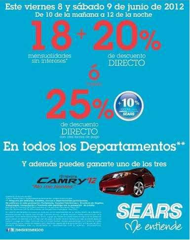 Venta Especial Sears: 18 MSI y 20% de descuento o hasta 25% directo el 8 y 9 de junio