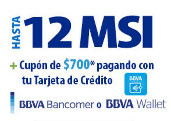 Walmart: Hasta 12 MSI con BBVA Bancomer + cupón de $700 en compras mayores a $4,000