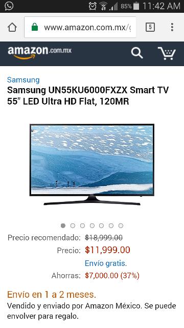 """Amazon: Samsung 4K de 55"""" modelo 2016 con HDR  UN55KU6000FXZX"""