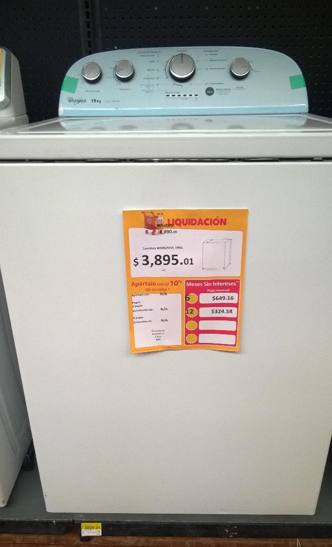 Walmart: Lavadora Whirlpool 19 kg. a $3,895.01, jabón Zote a $17.02