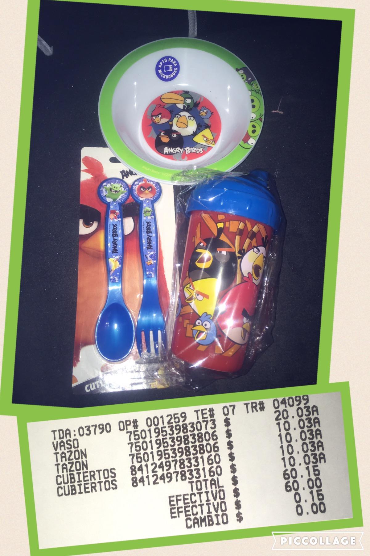 Walmart: liquidación plato y cubiertos Angry Birds a $10.03 c/u; vaso con tapa a $20.03