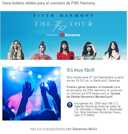 Starbucks: boletos dobles para Fifth Harmony MTY con consumo mínimo de $75 (Monterrey)