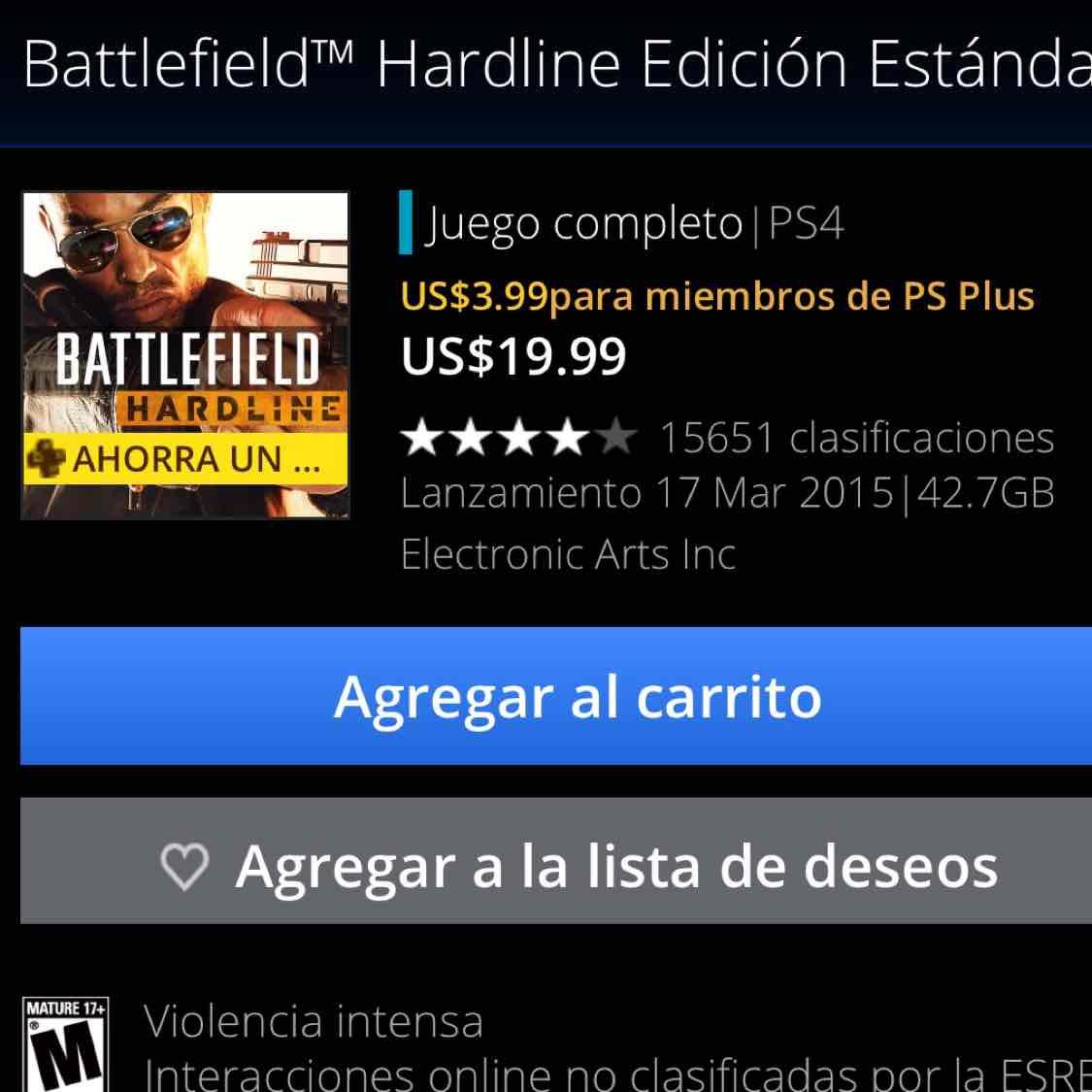 PS Store: Miembros PS Plus juego Battlefield Hardline para PS4 y PS3 a 3.99 USD