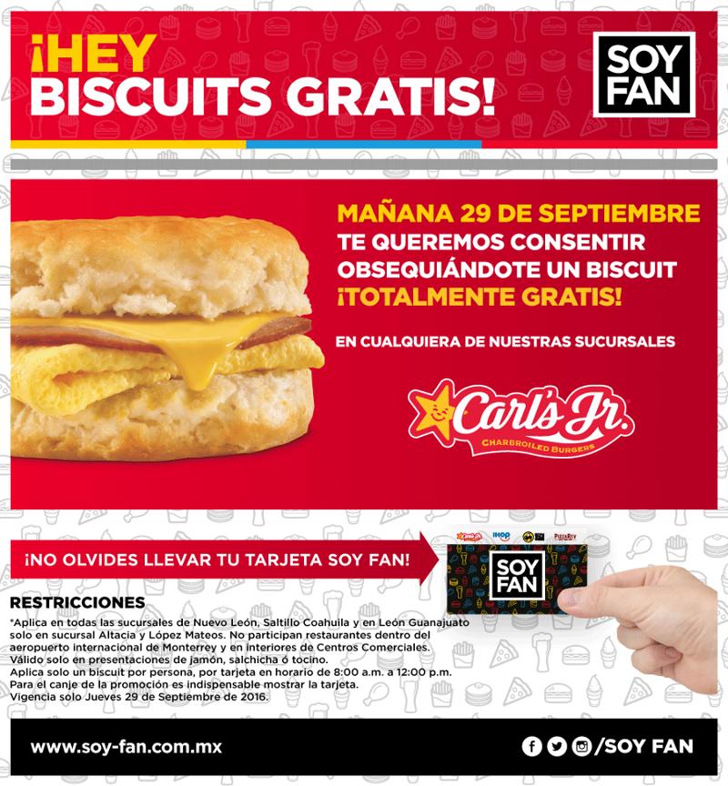 Carl's Jr. Nuevo León, Saltillo y Guanajuato: Biscuit ¡Gratis!