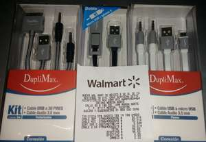 Walmart City Center: Cable Micro USB/Lightning/30Pin (algunos en kit con auxiliar)