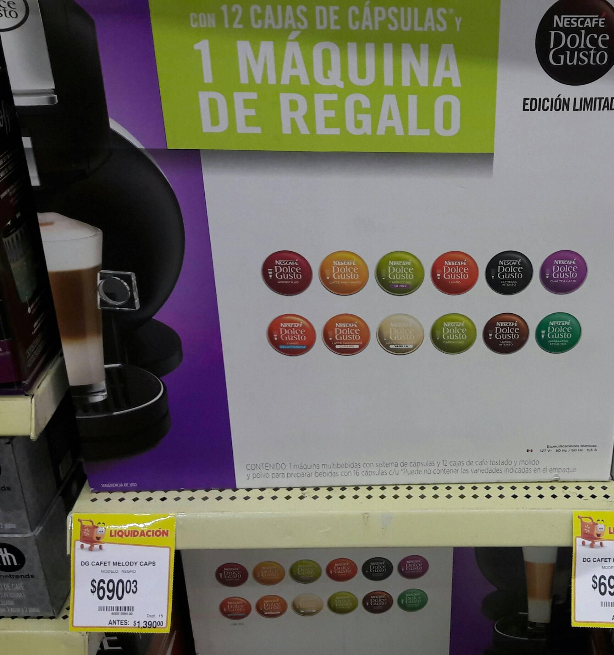Walmart La Cuspide: Cafetera DG Melody con 12 cajas de capsulas
