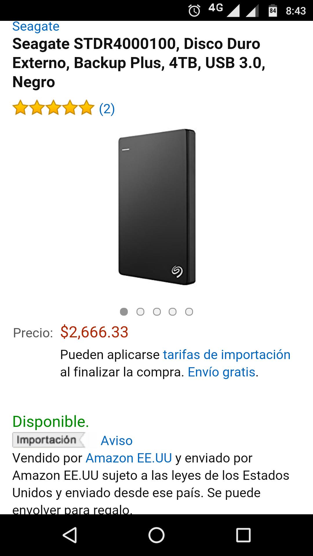 AMAZON: Disco duro portátil 4TB Seagate Seagate STDR4000100