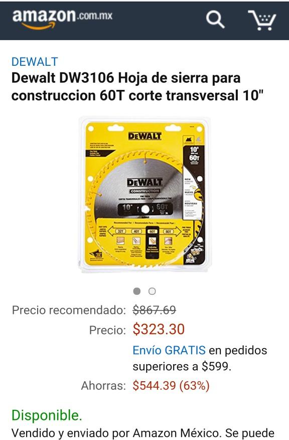 """Amazon México: Dewalt DW3106 Hoja de sierra para construccion 60T corte transversal 10"""""""
