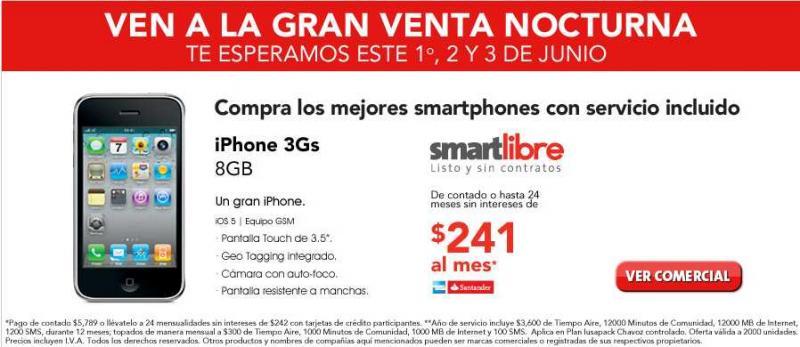 Venta Nocturna Iusacell: iPhone 3GS a $241 mensuales con 1 año de servicio (sin contrato)