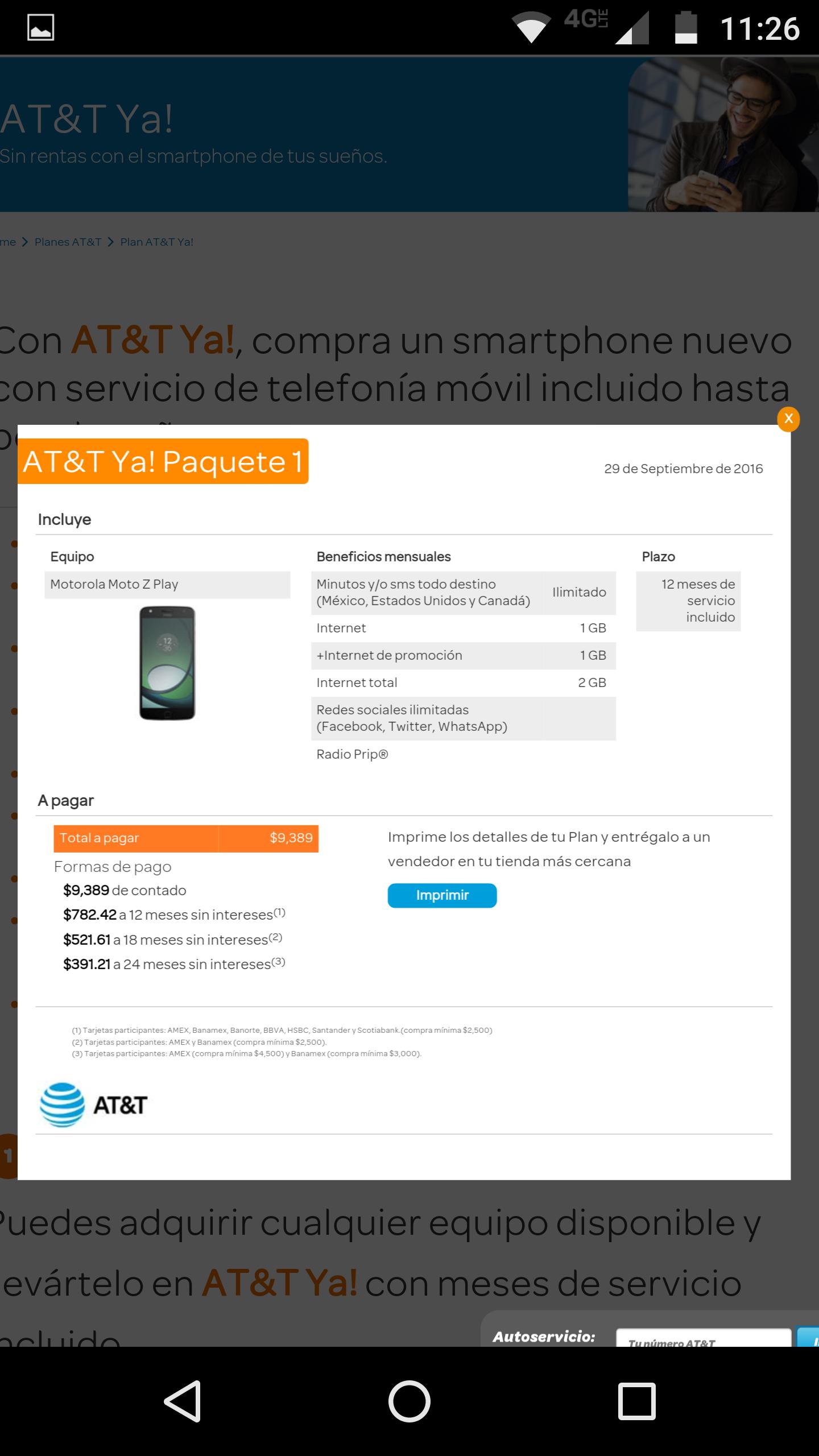 AT&T: Moto Z play con un año de servicio incluido