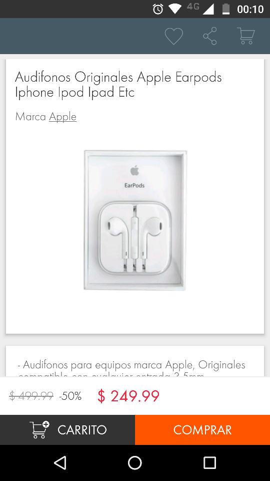 Linio: Earpods Apple a $249.99