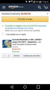 Amazon: Consola PlayStation 4 Slim, 500GB + Juego FIFA 2017 - Standard Edition, excelente costo