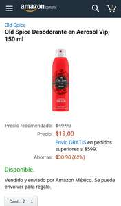 Amazon: Old Spice Desodorante en Aerosol Vip, 150 ml