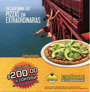 California Pizza Kitchen: cupón para $200 con consumo mínimo