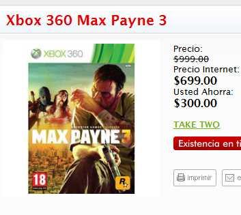 Sanborns.com: Max Payne 3 $699, Arkham City $559, Modern Warfare 3 $599, Dead Island $399 y más