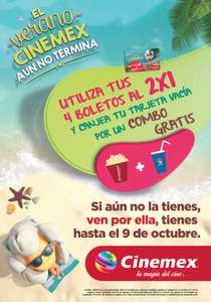 Cinemex: Combo gratis con tarjeta verano Cinemex (canjeando 4 boletos 2x1)