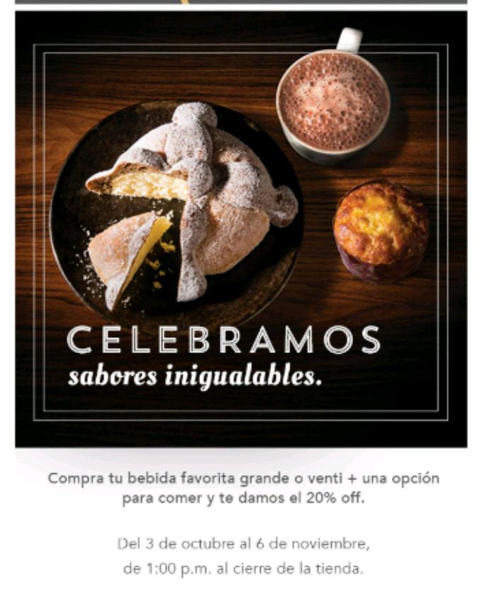 Starbucks: 20% de descuento comprando bebida grande o venti más opción para comer