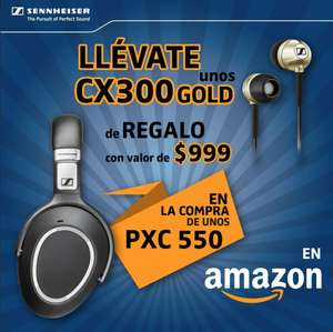 Amazon: Audífonos Sennheiser in ear CX 300 gold Gratis en la compra de los NUEVOS PXC 550 Wireless
