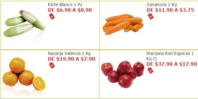 Soriana Híper y Súper: Elote $0.90 pza; Zanahoria $3.75 kg; Naranja $7.90 kg; Manzana Red $17.90 kg.
