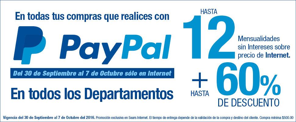 Sears: hasta 60% de descuento al pagar con Paypal