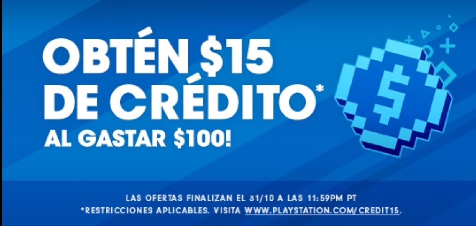 PlayStation Store: Gasta $100 y recibe $15 (USD)