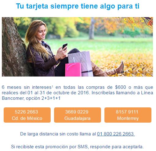 BBVA Bancomer: 6 meses sin intereses en todas las compras mayores a $600 del 01 al 31 Octubre