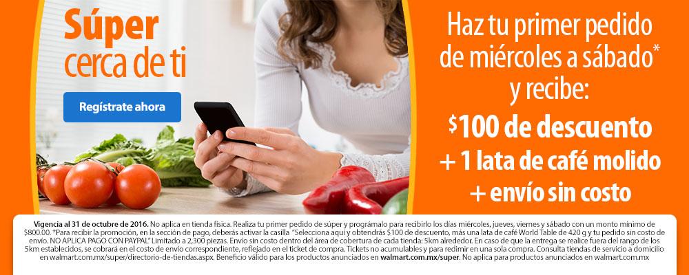 Walmart Super: Envío gratis, $100 de descuento y lata de café molido gratis.