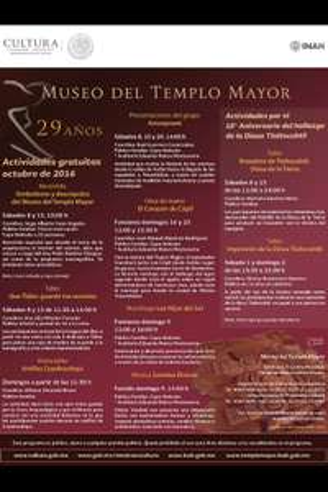 Museo del Templo Mayor CDMX: Actividades GRATIS en octubre