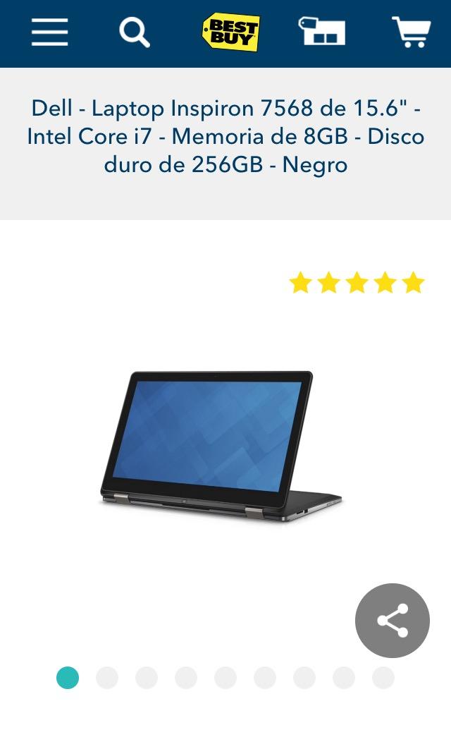 Bestbuy: Laptop Dell Inspiron 15-7568 Core i7 8Gb RAM 256Gb SSD de $19,499 a $14,599