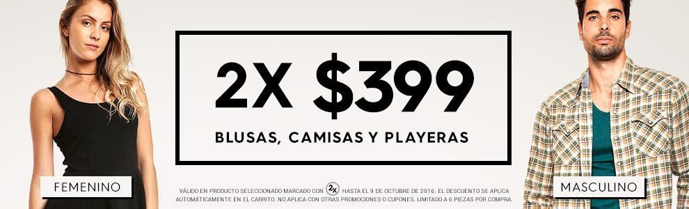Promoda y Ösom: Blusas, Camisas y Playeras 2 x $399 del 6 al 9 de Octubre