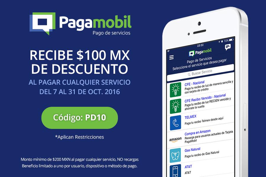 Pagamobil: $100 de descuento en pago de cualquier servicio (mín $200)