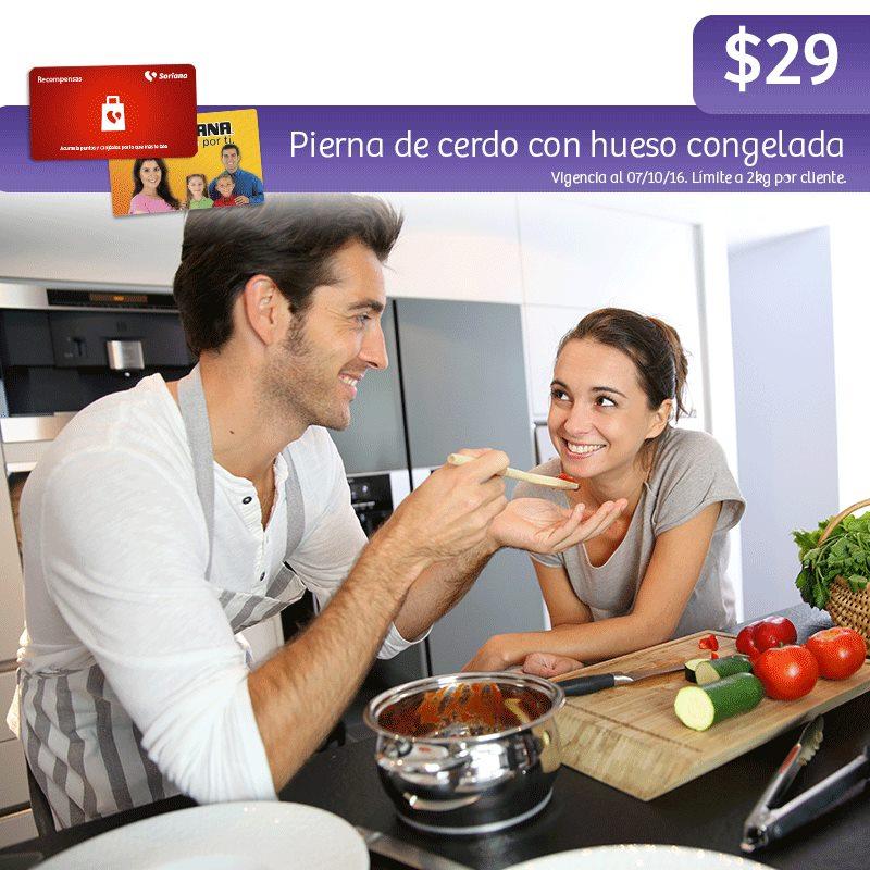 Soriana Híper y Súper: Recompensa Viernes 7 Octubre: Pierna de cerdo con hueso congelada $29 kg.