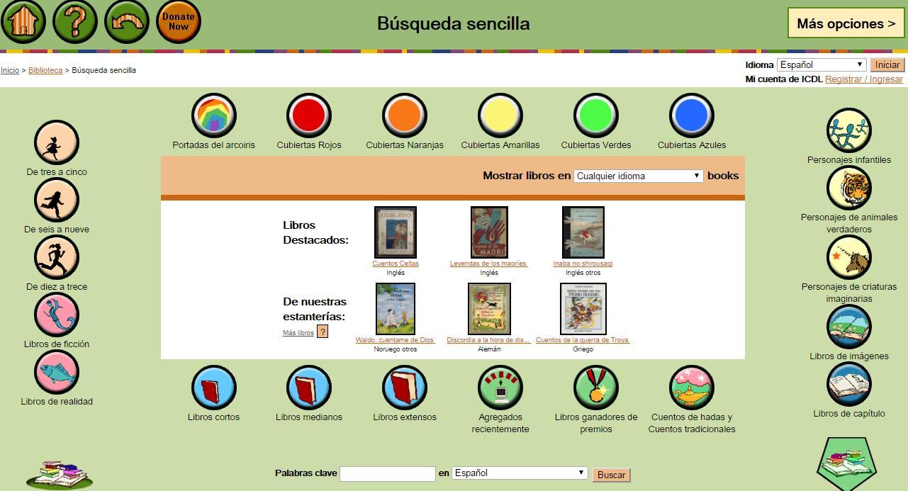 Página de libros infantiles en español CLASIFICADAS POR EDAD, por temas y por idioma